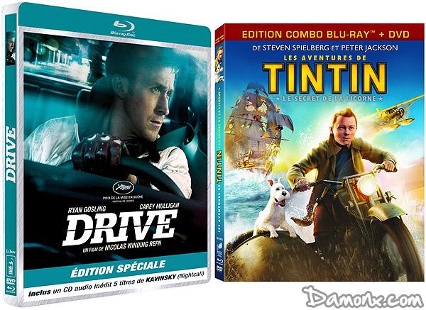 Blu Ray : Tintin Le Secret de La Licorne et Drive