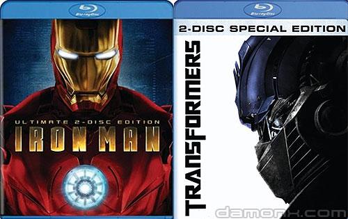 Blu Ray Transformers et Iron Man