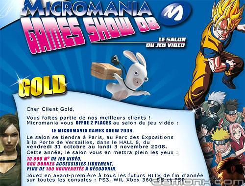 Invitations au Micromania Games Show 2008
