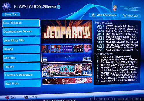 Mise à Jour PS Store 12 Septembre 2008