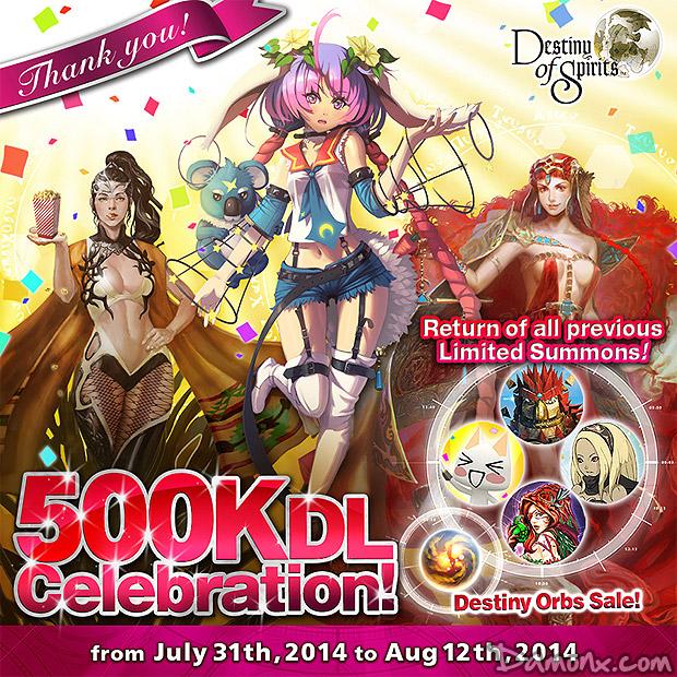[Destiny of Spirits] 500 000 Téléchargements, Update 1.03, Nouveau Raid, Nouveaux Esprits...
